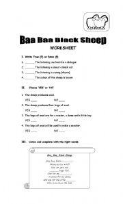 English Worksheets: Baa Baa Blacksheep