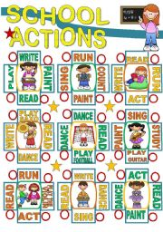 English Worksheet: SCHOOL ACTIONS