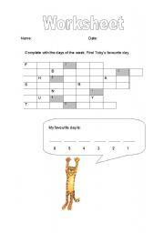 English worksheet: Days of Week