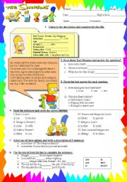 English Worksheet: the simpson´s