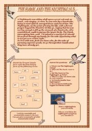 English Worksheets: The Hawk and The Nightingale