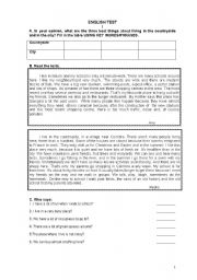 English Worksheet:  The city versus the countryside