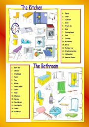 English Worksheet: The Kitchen / The bathroom