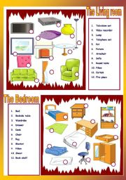 English Worksheet: The living room / The Bedroom