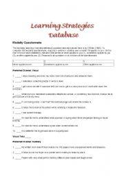 English Worksheets: learning Strategies Database
