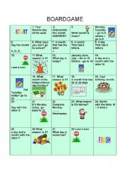 English Worksheet: Months, Days of the Week and Seasons
