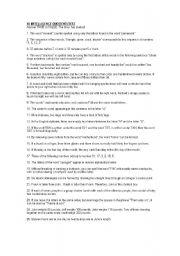photograph about Printable Iq Tests identify IQ examine - ESL worksheet through veronica delellis