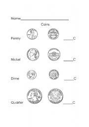 English worksheet: Coins
