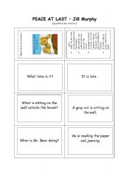 English Worksheets: questions- and answer-cards  for the storybook: Peace at last