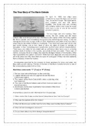 English Worksheet: The Marie Celeste a Mystery unsolved
