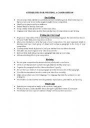 english worksheets guidelines for writing a composition