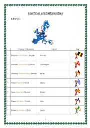 English Worksheet: countries and nationalities (Europe part 1)