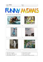 English Worksheet: Funny animals (+ actions)