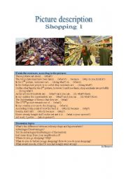 English Worksheet: Picture Description - Shopping 1