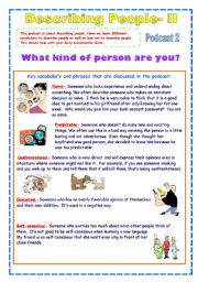 English Worksheet: Describing People 2nd part- Useful Personality Adjectives (2 pages)