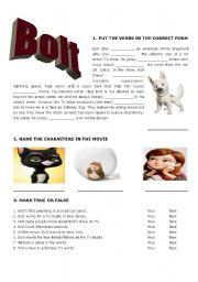 English Worksheets: Bolt