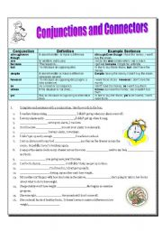 English worksheet: Because, however, or, but, and, so, unless, although/even though, despite, and yet:  Conjunctions and Connectors (2 pages, plus KEY)