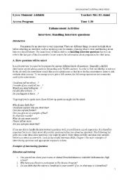 English Worksheets: Interview: Handling Interview questions