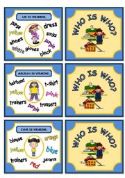 English Worksheets: WHO IS WHO? GAME (DESCRIBING WHAT PEOPLE ARE WEARING) PART 3