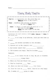 english worksheets there their they re. Black Bedroom Furniture Sets. Home Design Ideas