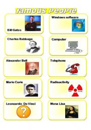 English Worksheet: famous people and their inventions