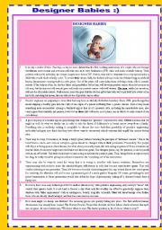 English Worksheets: DESIGNER BABIES � READING , LISTENING AND VOCABULARY ACTIVITY FOR ADVANCE STUDENTS BOTH INFORMATIVE AND CONTRAVERSIAL ,POPULAR TOPIC