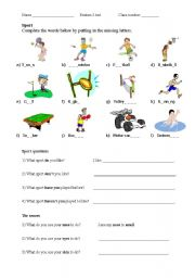 English Worksheet: Sport & Rooms of the house (revision or test sheet)