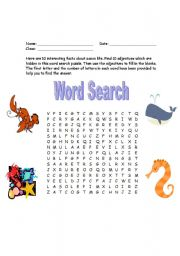 English worksheet: Adjectives about Sea Creatures(Word Search)