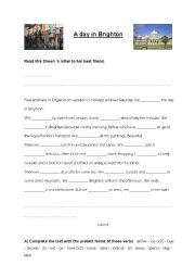 English Worksheet: Reading comprehension. A day in Brighton. Past simple. 3 exercises
