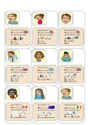 esl kids worksheets personal information cards. Black Bedroom Furniture Sets. Home Design Ideas