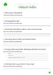 English Worksheet: Dublin Webquest