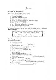 English worksheet: possessive´s - exercises