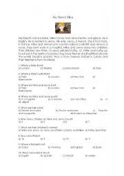 English worksheet: My friend Mike