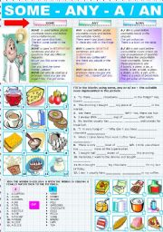 English Worksheet: SOME - ANY - A / AN