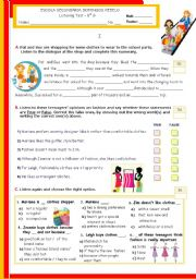 English worksheet: Shopping + Teenagers´ opinions on fashion  - Listening TEST for Intermediate Students