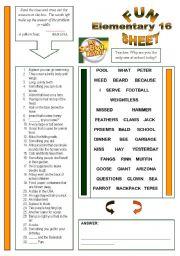 English Worksheet: Fun Sheet Elementary 16