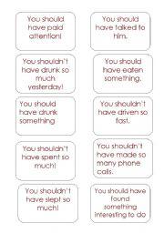English Worksheet: should have done cards