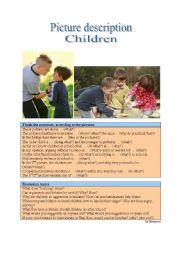 English Worksheet: Picture Description - Children 1
