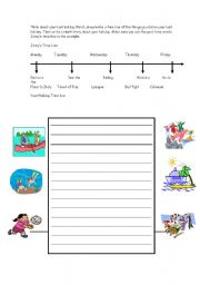 English Worksheets: Write about your last holiday