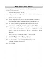 English worksheet: Simple Present or Present Continuous