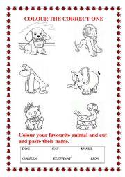 English Worksheets: favourite animal