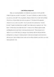 English Worksheets: Graduation Writing Assignment