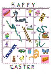 English Worksheet: Easter snakes and ladders