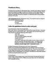 English worksheets: The Sandlot - Flashback Story Assignment