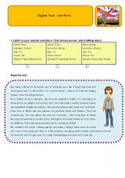 English Worksheet: TEST 6TH FORM -MARCH 2009