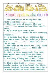 English Worksheet: few, a few/ litle, a little