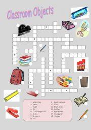 Classroom Objects Crossword