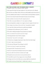 English Worksheet: CLAUSES OF CONTRAST 2