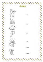 English Worksheets: Matching exercise animals