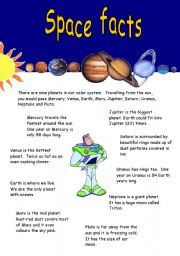 English worksheet: Space facts